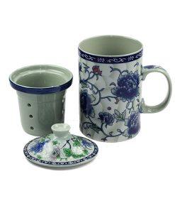 Chinese thee mok met zeef en deksel